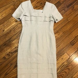 Vintage linen Dejac Paris France Button Back Dress